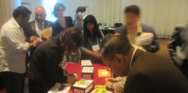 Participants allocating resources in a simulated disaster response